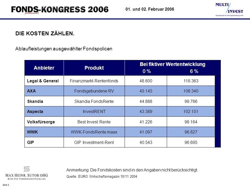 Seite 6 01.und 02. Februar 2006 DIE KOSTEN ZÄHLEN.