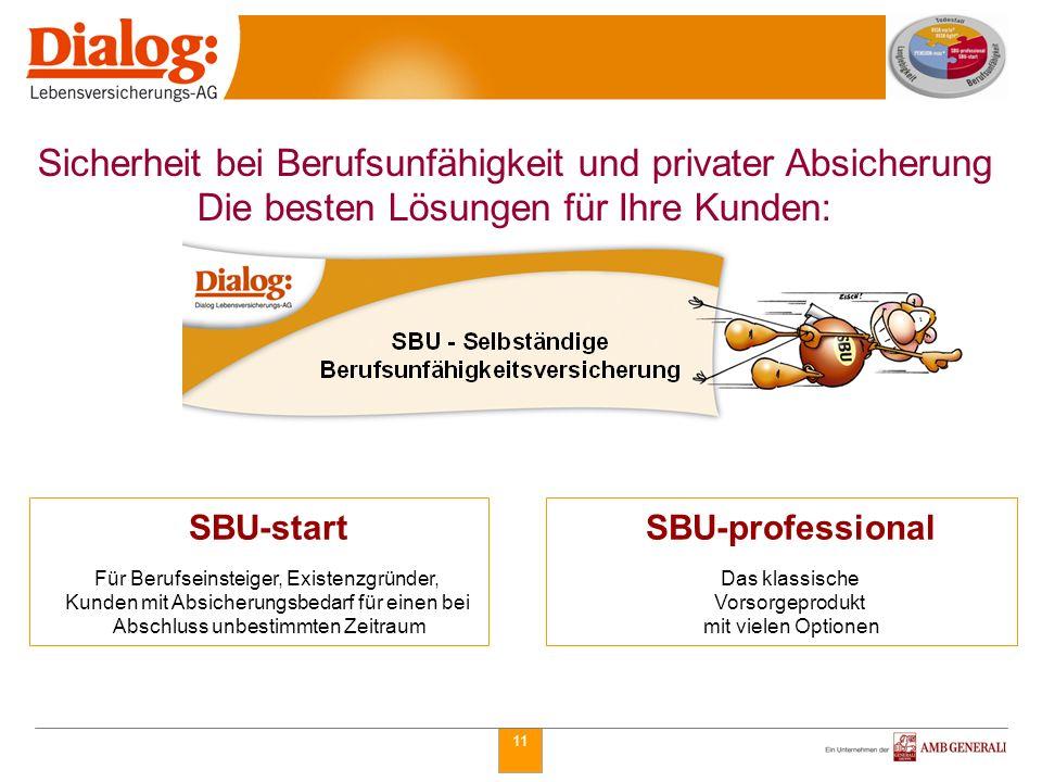 11 SBU-professional Das klassische Vorsorgeprodukt mit vielen Optionen SBU-start Für Berufseinsteiger, Existenzgründer, Kunden mit Absicherungsbedarf