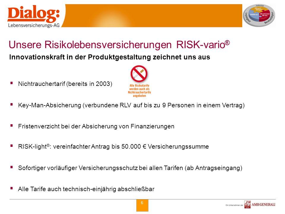 6 Nichtrauchertarif (bereits in 2003) Key-Man-Absicherung (verbundene RLV auf bis zu 9 Personen in einem Vertrag) Fristenverzicht bei der Absicherung