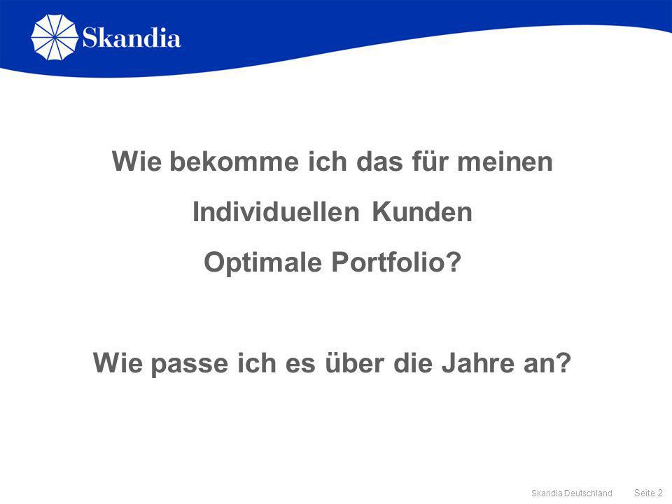 Seite 2 Skandia Deutschland Wie bekomme ich das für meinen Individuellen Kunden Optimale Portfolio? Wie passe ich es über die Jahre an?