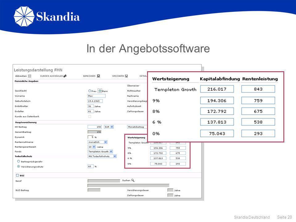 Seite 20 Skandia Deutschland In der Angebotssoftware