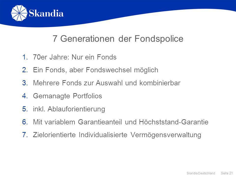 Seite 21 Skandia Deutschland 7 Generationen der Fondspolice 1.70er Jahre: Nur ein Fonds 2.Ein Fonds, aber Fondswechsel möglich 3.Mehrere Fonds zur Aus
