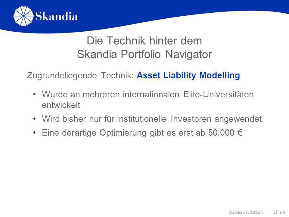 Seite 6 Skandia Deutschland Die Technik hinter dem Skandia Portfolio Navigator Zugrundeliegende Technik: Asset Liability Modelling Wurde an mehreren i