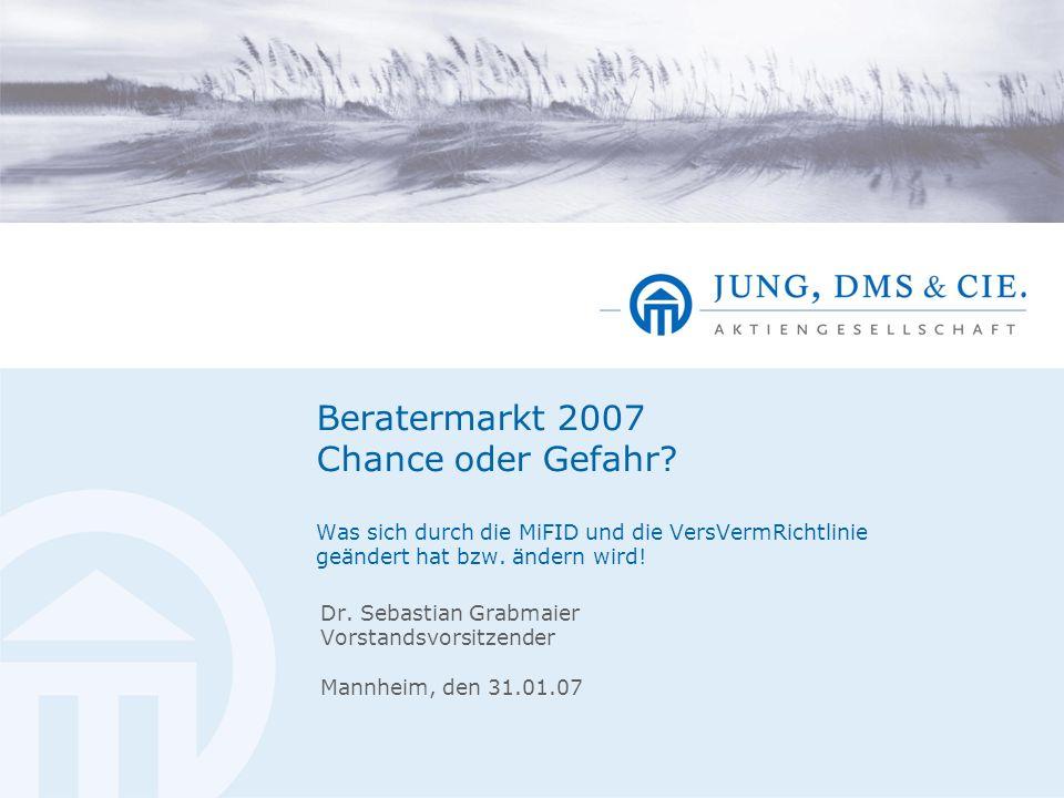 Beratermarkt 2007 Chance oder Gefahr? Was sich durch die MiFID und die VersVermRichtlinie geändert hat bzw. ändern wird! Dr. Sebastian Grabmaier Vorst