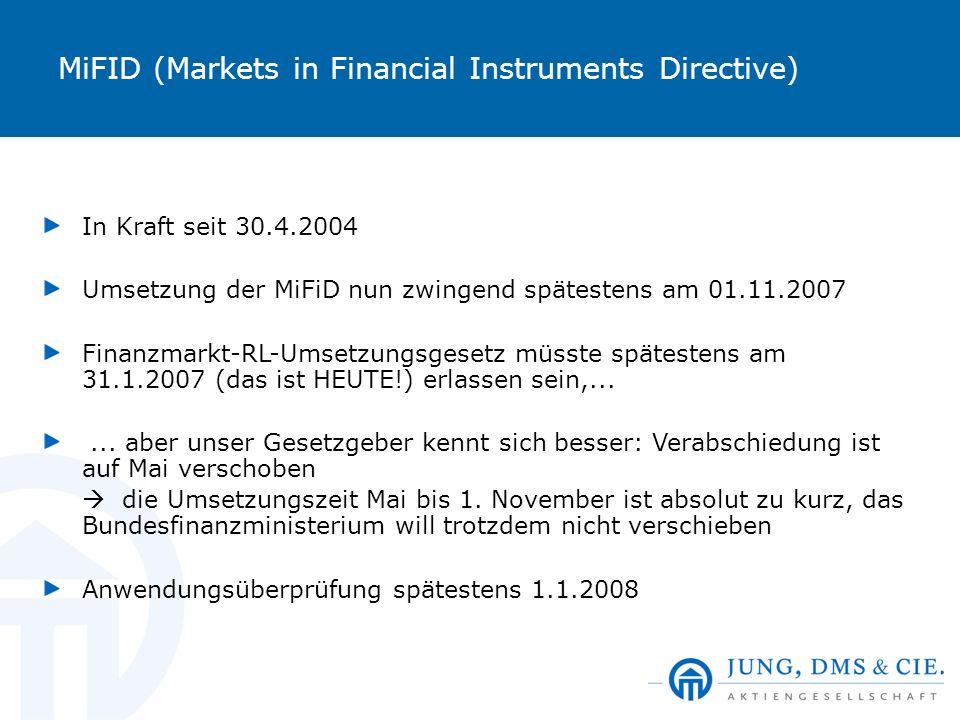 MiFID (Markets in Financial Instruments Directive) In Kraft seit 30.4.2004 Umsetzung der MiFiD nun zwingend spätestens am 01.11.2007 Finanzmarkt-RL-Um