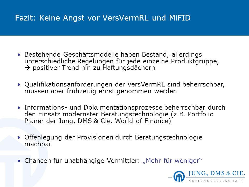 Fazit: Keine Angst vor VersVermRL und MiFID Bestehende Geschäftsmodelle haben Bestand, allerdings unterschiedliche Regelungen für jede einzelne Produk