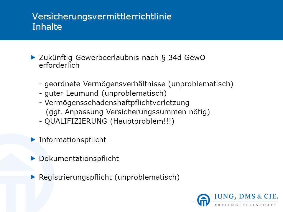 Versicherungsvermittlerrichtlinie Inhalte Zukünftig Gewerbeerlaubnis nach § 34d GewO erforderlich - geordnete Vermögensverhältnisse (unproblematisch)
