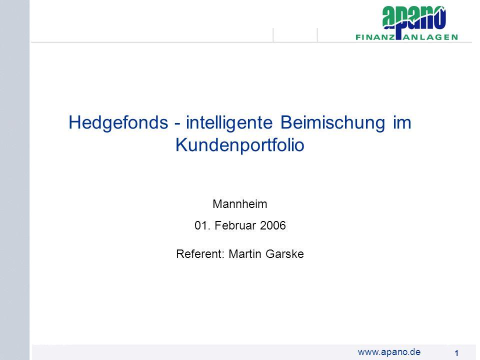 Das Netzwerk1 1 www.apano.de Hedgefonds - intelligente Beimischung im Kundenportfolio Mannheim 01. Februar 2006 Referent: Martin Garske