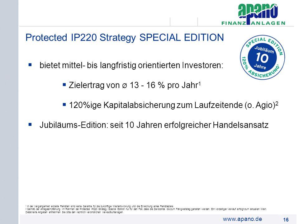 Das Netzwerk16 www.apano.de bietet mittel- bis langfristig orientierten Investoren: Zielertrag von Ø 13 - 16 % pro Jahr 1 120%ige Kapitalabsicherung z