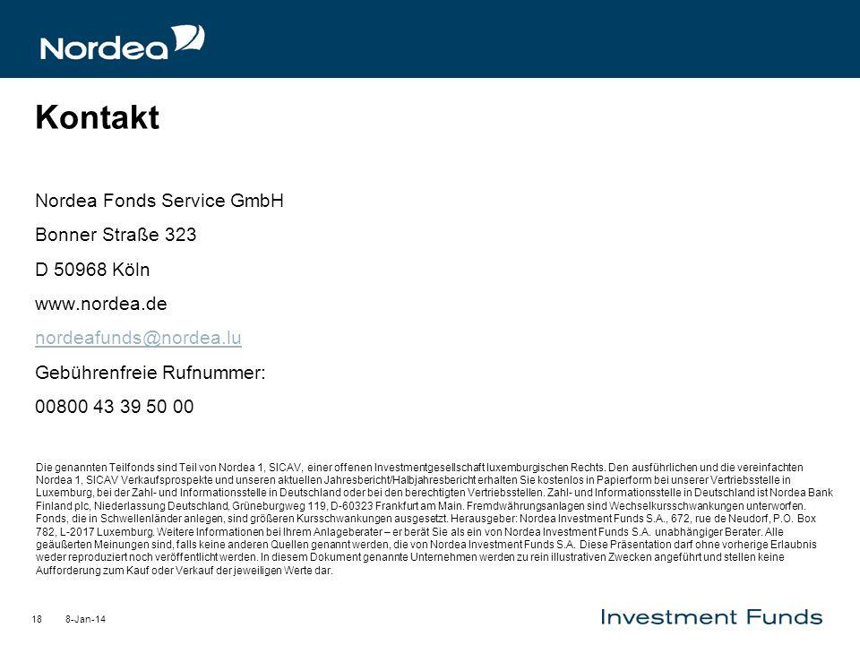 8-Jan-1418 Kontakt Nordea Fonds Service GmbH Bonner Straße 323 D 50968 Köln www.nordea.de nordeafunds@nordea.lu Gebührenfreie Rufnummer: 00800 43 39 5
