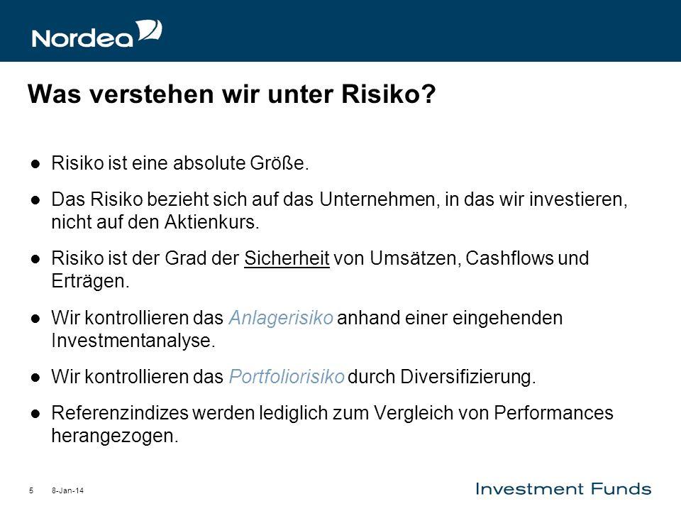 8-Jan-145 Was verstehen wir unter Risiko? Risiko ist eine absolute Größe. Das Risiko bezieht sich auf das Unternehmen, in das wir investieren, nicht a