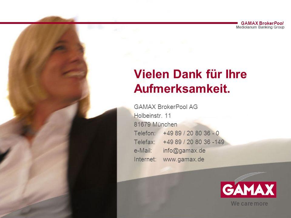 Vielen Dank für Ihre Aufmerksamkeit. GAMAX BrokerPool AG Holbeinstr. 11 81679 München Telefon: +49 89 / 20 80 36 - 0 Telefax: +49 89 / 20 80 36 -149 e