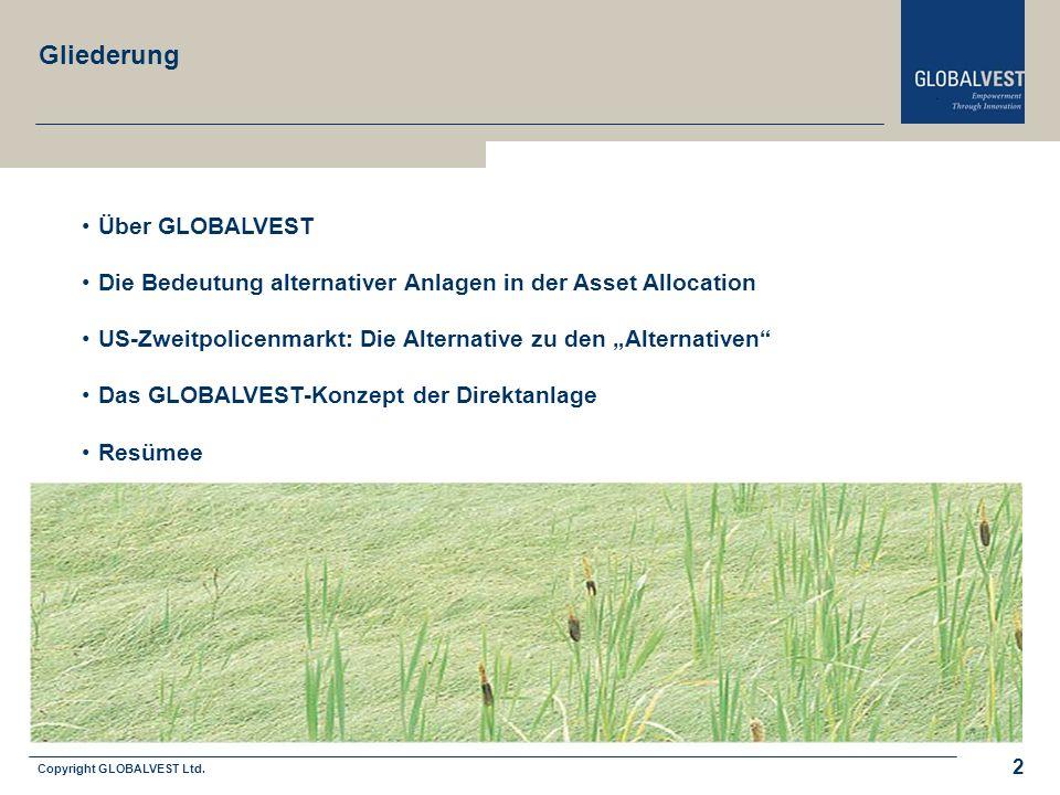 Copyright GLOBALVEST Ltd. 2 Gliederung Über GLOBALVEST Die Bedeutung alternativer Anlagen in der Asset Allocation US-Zweitpolicenmarkt: Die Alternativ
