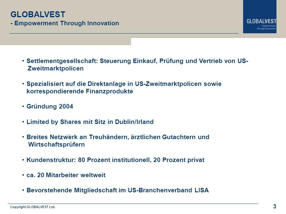 Copyright GLOBALVEST Ltd. 3 GLOBALVEST - Empowerment Through Innovation Settlementgesellschaft: Steuerung Einkauf, Prüfung und Vertrieb von US- Zweitm