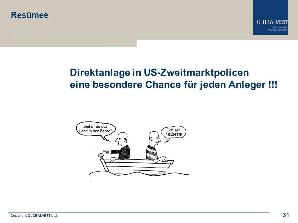 Copyright GLOBALVEST Ltd. Leitbild 31 Direktanlage in US-Zweitmarktpolicen – eine besondere Chance für jeden Anleger !!! Resümee