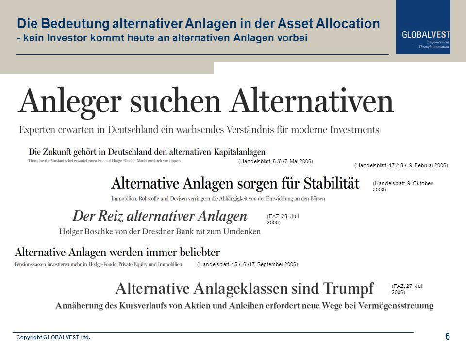 Copyright GLOBALVEST Ltd. Leitbild 6 (Handelsblatt, 5./6./7. Mai 2006) (FAZ, 28. Juli 2006) (Handelsblatt, 17./18./19. Februar 2006) (Handelsblatt, 15