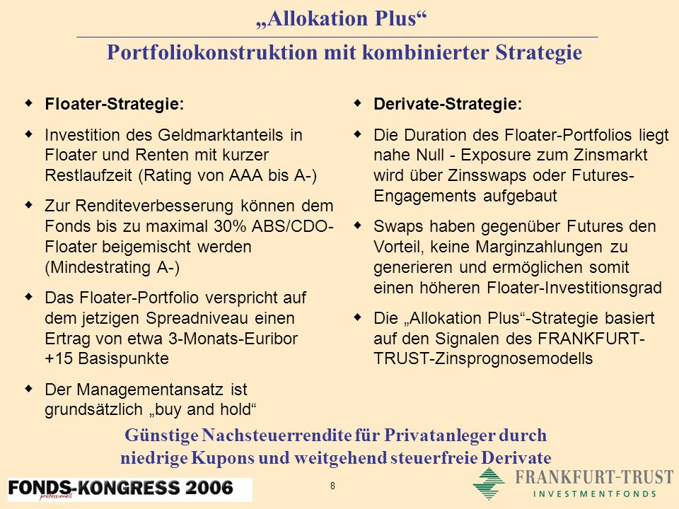 9 Allokation Plus Risikomanagement Das Mindestrating von Einzeltiteln muss A- sein Die Fondsduration darf nicht <0 sein und das Zweifache der Duration des Vergleichsmaßstabes nicht überschreiten Für den Fonds wird ein tägliches Value-at-Risk-Reporting auf Basis des Risikomesssystems RiskWatch erstellt RiskWatch ist das führende System zur Risikosteuerung von Investmentfonds in Deutschland Die erwarteten Erträge werden in Relation zu den möglichen Verlustrisiken gesetzt Ziel des Risikomanagements ist eine optimale Chance-Risiko-Relation und eine hohe Wahrscheinlichkeit für den Erhalt des eingesetzten Kapitals Risiken werden permanent beobachtet und kontrolliert