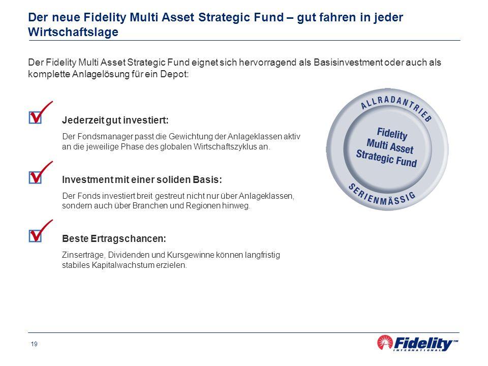 19 Der neue Fidelity Multi Asset Strategic Fund – gut fahren in jeder Wirtschaftslage Jederzeit gut investiert: Der Fondsmanager passt die Gewichtung