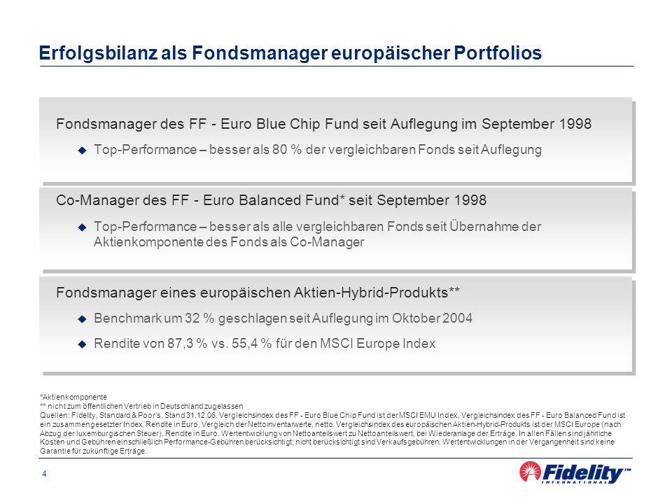4 Erfolgsbilanz als Fondsmanager europäischer Portfolios Fondsmanager des FF - Euro Blue Chip Fund seit Auflegung im September 1998 Top-Performance –
