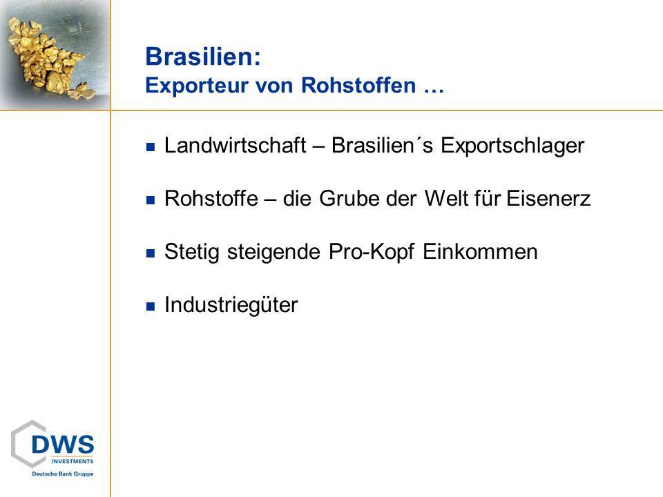 Brasilien: Exporteur von Rohstoffen … Landwirtschaft – Brasilien´s Exportschlager Rohstoffe – die Grube der Welt für Eisenerz Stetig steigende Pro-Kop