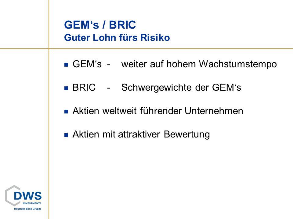 GEMs / BRIC Guter Lohn fürs Risiko GEMs-weiter auf hohem Wachstumstempo BRIC-Schwergewichte der GEMs Aktien weltweit führender Unternehmen Aktien mit