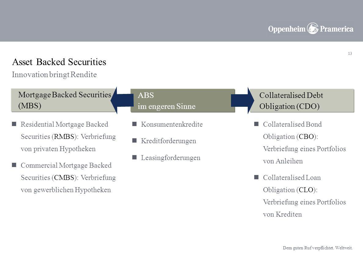 12 Dem guten Ruf verpflichtet. Weltweit. Kreditqualität in Europa bleibt durch die Konjunktur gut unterstützt. Attraktivste Renditeaufschläge (Spreads