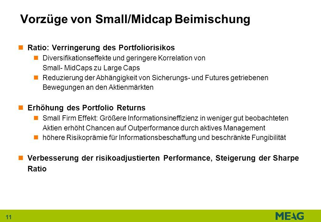 11 Vorzüge von Small/Midcap Beimischung Ratio: Verringerung des Portfoliorisikos Diversifikationseffekte und geringere Korrelation von Small- MidCaps