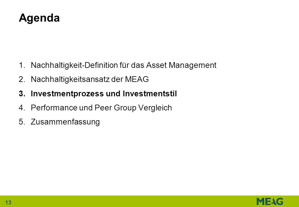 13 Agenda 1.Nachhaltigkeit-Definition für das Asset Management 2.Nachhaltigkeitsansatz der MEAG 3.Investmentprozess und Investmentstil 4.Performance u
