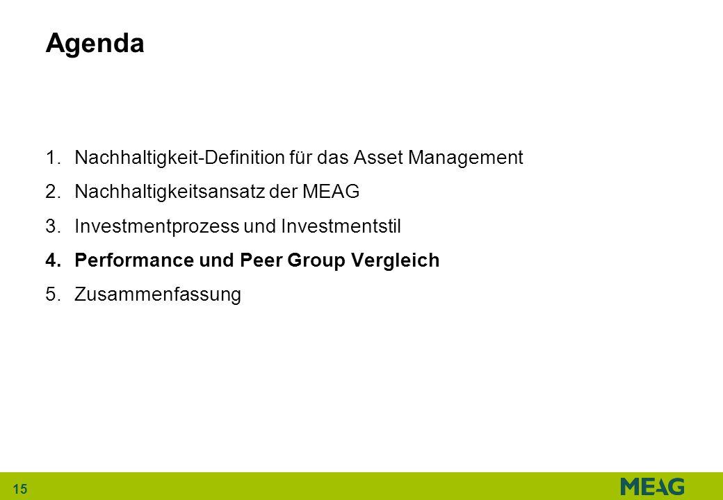 15 Agenda 1.Nachhaltigkeit-Definition für das Asset Management 2.Nachhaltigkeitsansatz der MEAG 3.Investmentprozess und Investmentstil 4.Performance u