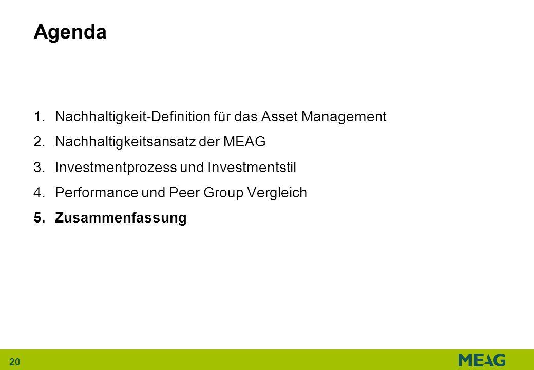 20 Agenda 1.Nachhaltigkeit-Definition für das Asset Management 2.Nachhaltigkeitsansatz der MEAG 3.Investmentprozess und Investmentstil 4.Performance u