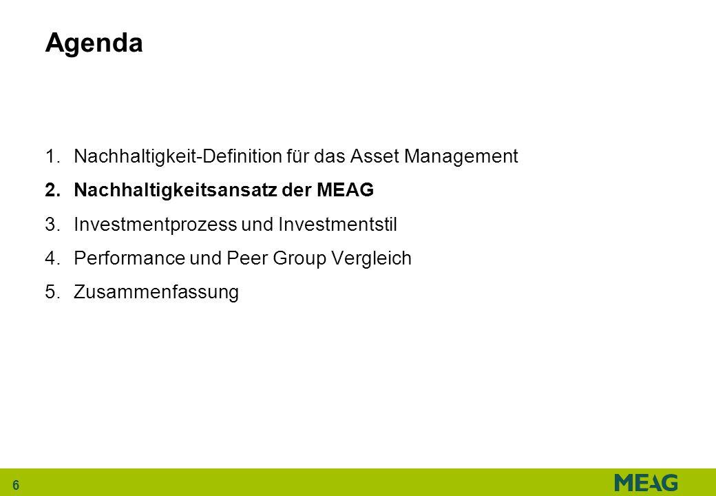 6 Agenda 1.Nachhaltigkeit-Definition für das Asset Management 2.Nachhaltigkeitsansatz der MEAG 3.Investmentprozess und Investmentstil 4.Performance un