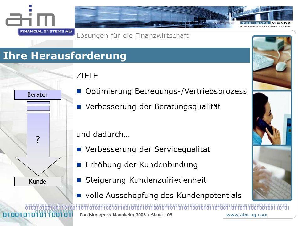 www.aim-ag.com Lösungen für die Finanzwirtschaft Fondskongress Mannheim 2006 / Stand 105 Allfinanz Bestand Positionsdetail TransaktionenKursentwicklungFactsheetAnalysePerformance