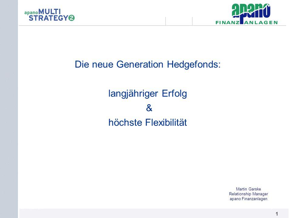 Das Netzwerk1 1 Die neue Generation Hedgefonds: langjähriger Erfolg & höchste Flexibilität Martin Garske Relationship Manager apano Finanzanlagen