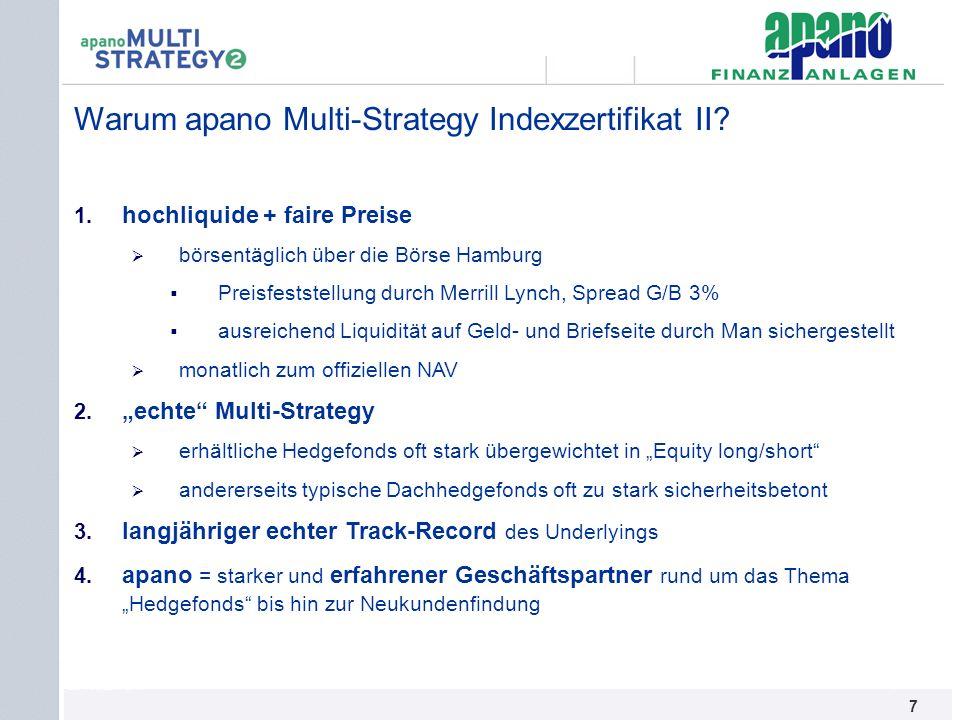 Das Netzwerk7 7 Warum apano Multi-Strategy Indexzertifikat II? 1. hochliquide + faire Preise börsentäglich über die Börse Hamburg Preisfeststellung du