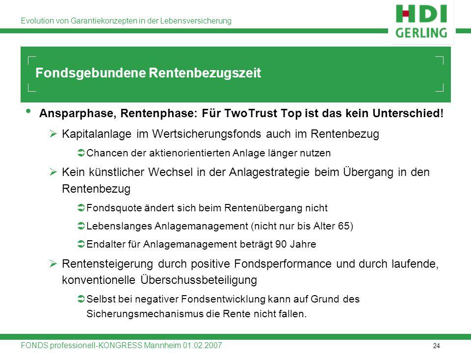 24 Evolution von Garantiekonzepten in der Lebensversicherung FONDS professionell-KONGRESS Mannheim 01.02.2007 Ansparphase, Rentenphase: Für TwoTrust T