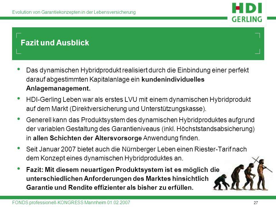 27 Evolution von Garantiekonzepten in der Lebensversicherung FONDS professionell-KONGRESS Mannheim 01.02.2007 Fazit und Ausblick Das dynamischen Hybri