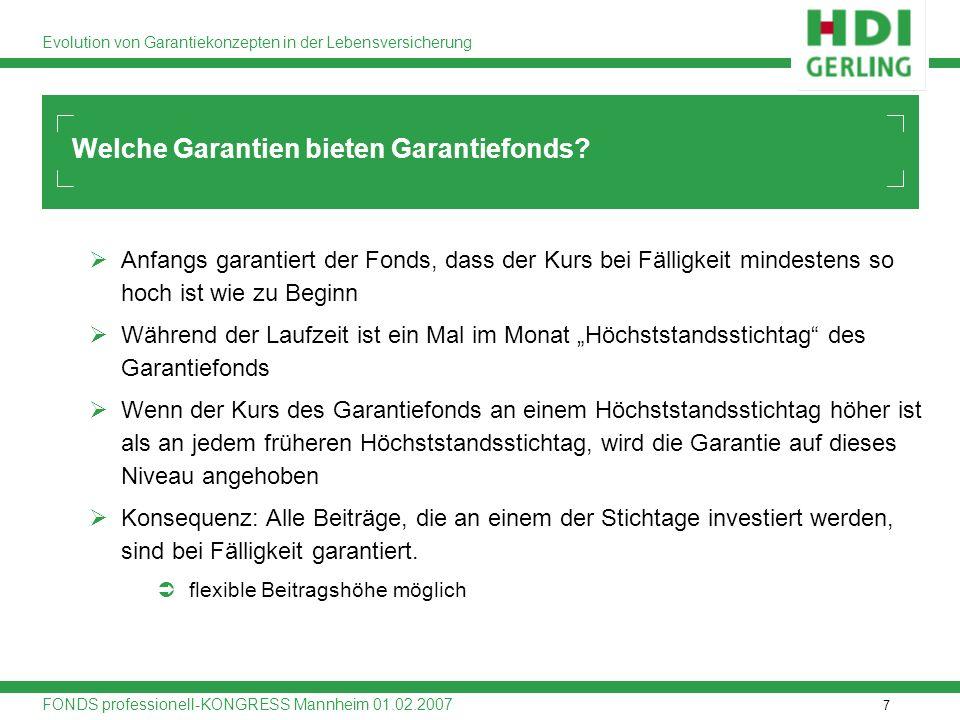 7 Evolution von Garantiekonzepten in der Lebensversicherung FONDS professionell-KONGRESS Mannheim 01.02.2007 Anfangs garantiert der Fonds, dass der Ku