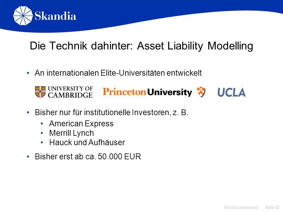 Seite 22 Skandia Deutschland Die Technik dahinter: Asset Liability Modelling An internationalen Elite-Universitäten entwickelt Bisher nur für institut
