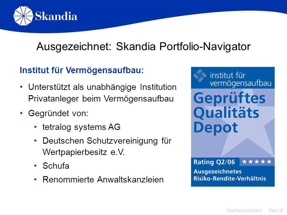 Seite 32 Skandia Deutschland Institut für Vermögensaufbau: Unterstützt als unabhängige Institution Privatanleger beim Vermögensaufbau Gegründet von: t