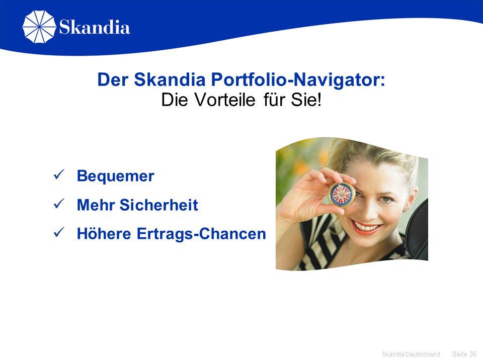 Seite 36 Skandia Deutschland Der Skandia Portfolio-Navigator: Die Vorteile für Sie! Bequemer Mehr Sicherheit Höhere Ertrags-Chancen
