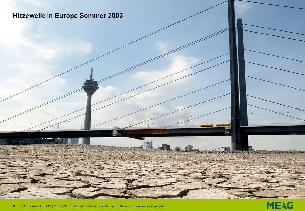 | Mannheim, 31.01.07 | MEAG Nachhaltigkeit - Wachstumschancen im Bereich Erneuerbare Energien 14 Gründe für Investments in Erneuerbare Energien Geringe freie Förderkapazitäten führen zu hohem Ölpreis Besonders Nachfrage aus BRIC Staaten übersteigt das Produktionswachstum Steigende marginale Produktionskosten (Ölsand, Gas to Liquid) führen auch langfristig zu hohen Ölpreisen Globale Öl-Produktion und -Kapazität (in Millionen Barrels/Tag) 20 30 40 50 60 70 80 90 656769717375777981838587899193959799010305 Globale Produktionskapazität Globale Öl-Produktion 80 0 10 20 30 40 50 60 70 199119921993199419951996199719981999200020012002200320042005 2006 Ölpreis Marginale Produktionskosten Quelle: Goldman Sachs Research