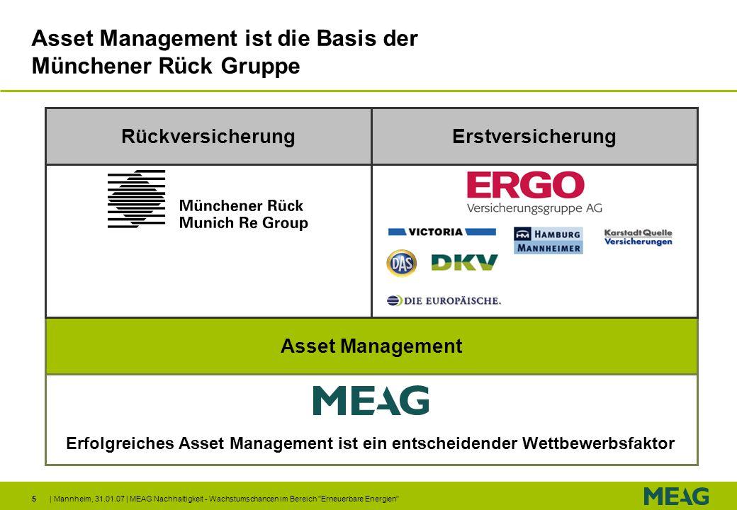 | Mannheim, 31.01.07 | MEAG Nachhaltigkeit - Wachstumschancen im Bereich Erneuerbare Energien 16 Gründe für Investments in Erneuerbare Energien Investitionen in Erneuerbare Energien steigen Anstieg auf 150 Mrd Euro p.a.