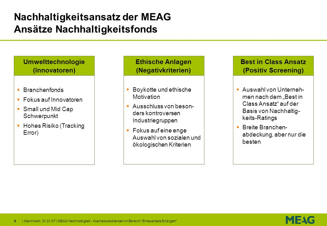 | Mannheim, 31.01.07 | MEAG Nachhaltigkeit - Wachstumschancen im Bereich Erneuerbare Energien 29 Zusammenfassung Investmentansatz für globalen Aktienfonds mit überdurchschnittlicher Rendite, geringerem Risiko und gutem Gewissen Beimischung von alternative Energien bewirkt Partizipation an positiver Entwicklung der Branche bei kontrollierten Risiken MEAG Nachhaltigkeit mit aktivem Selektionsansatz Zusammenarbeit mit Münchener Rück - ein einzigartiger Wissenstransfer Eignet sich besonders für langfristigen Vermögensaufbau, z.B.