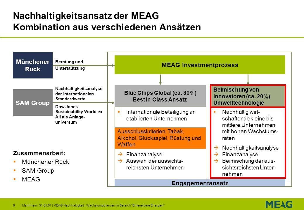 | Mannheim, 31.01.07 | MEAG Nachhaltigkeit - Wachstumschancen im Bereich Erneuerbare Energien 30 Disclaimer Allgemeine Hinweise Die in dieser Veröffentlichung enthaltenen Informationen wurden sorgfältig recherchiert und werden regelmäßig aktualisiert.