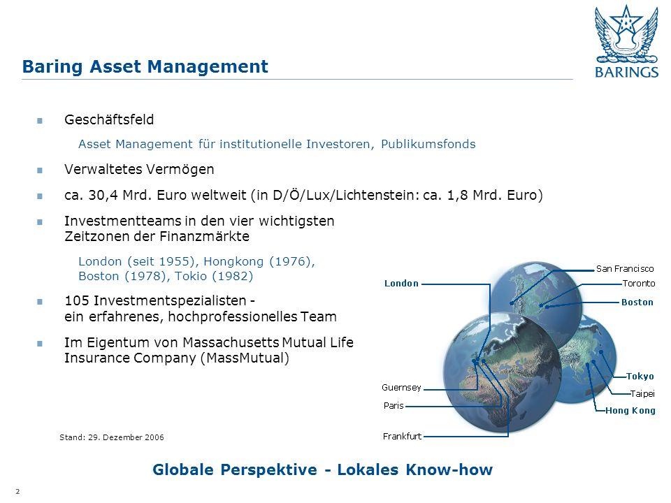 2 Baring Asset Management Geschäftsfeld Asset Management für institutionelle Investoren, Publikumsfonds Verwaltetes Vermögen ca.