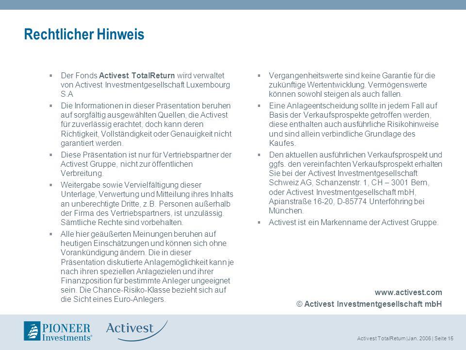Activest TotalReturn |Jan. 2006 | Seite 15 Rechtlicher Hinweis Der Fonds Activest TotalReturn wird verwaltet von Activest Investmentgesellschaft Luxem