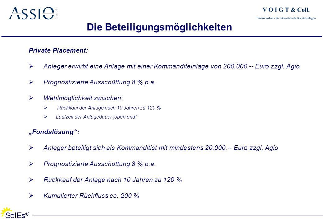 Die Beteiligungsmöglichkeiten Private Placement: Anleger erwirbt eine Anlage mit einer Kommanditeinlage von 200.000,-- Euro zzgl. Agio Prognostizierte