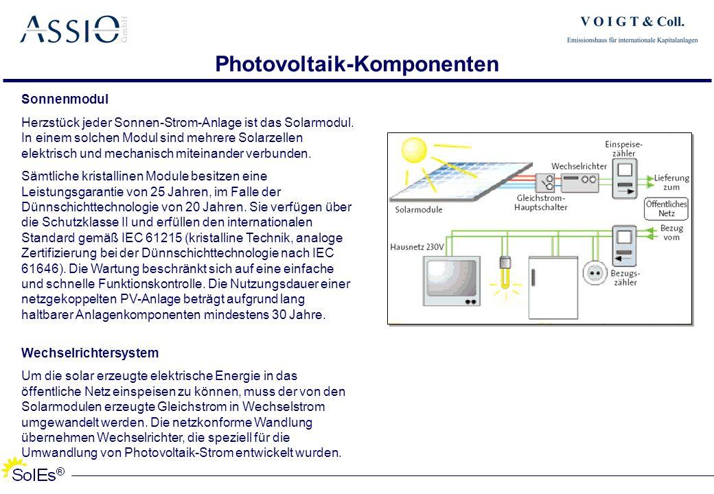 Photovoltaik-Komponenten Sonnenmodul Herzstück jeder Sonnen-Strom-Anlage ist das Solarmodul. In einem solchen Modul sind mehrere Solarzellen elektrisc