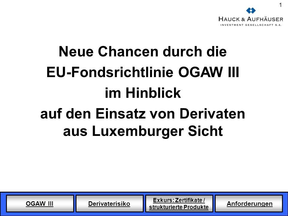 OGAW III Derivaterisiko Exkurs: Zertifikate / strukturierte Produkte Anforderungen 1 Neue Chancen durch die EU-Fondsrichtlinie OGAW III im Hinblick au