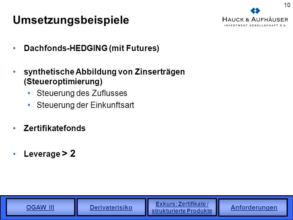 OGAW III Derivaterisiko Exkurs: Zertifikate / strukturierte Produkte Anforderungen 10 Umsetzungsbeispiele Dachfonds-HEDGING (mit Futures) synthetische